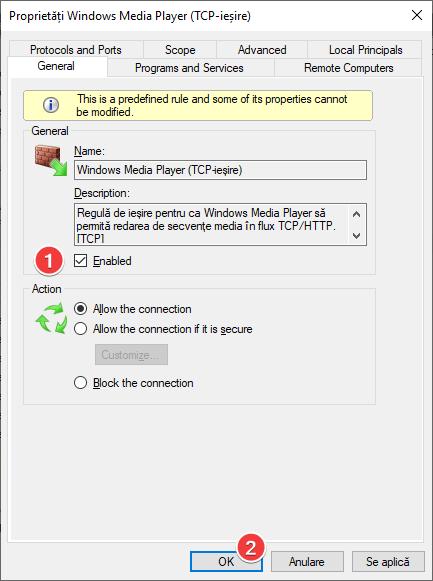 Activarea unei reguli în Paravanul de protecție Windows Defender