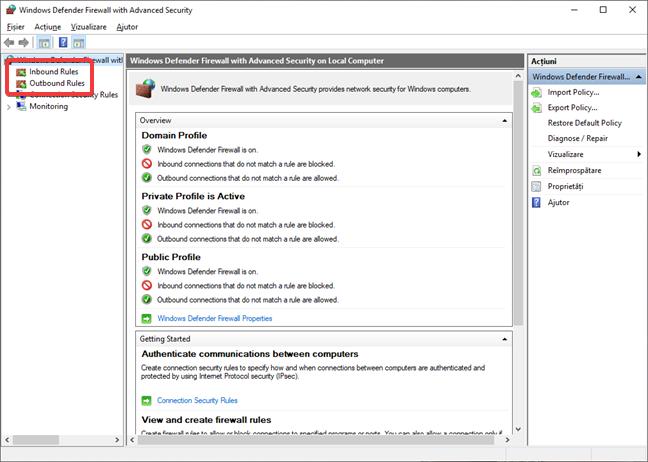 Reguli de intrare și ieșire pentru Paravanul de protecție Windows Defender