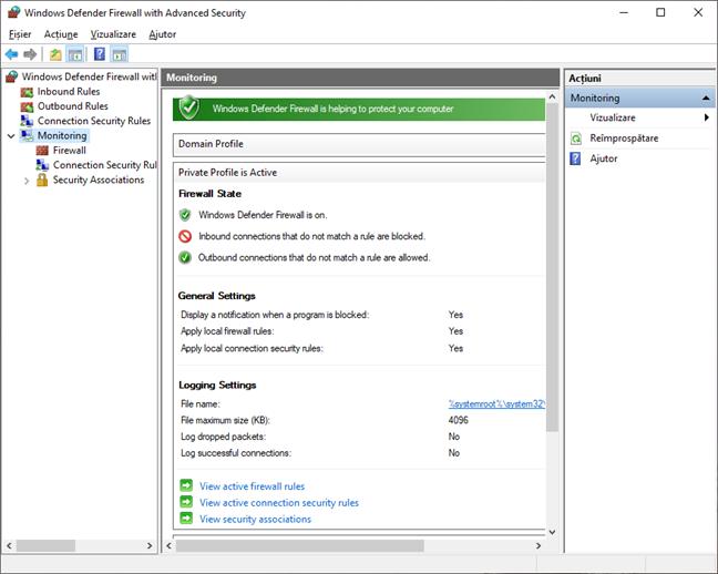 Monitorizarea în Paravanul de protecție Windows Defender