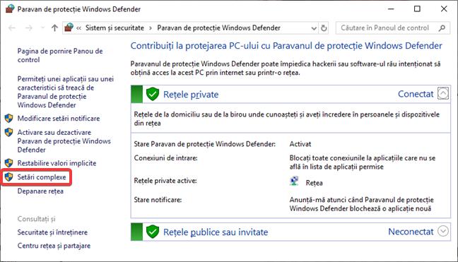 Deschide Setări complexe în Paravan de protecție Windows Defender