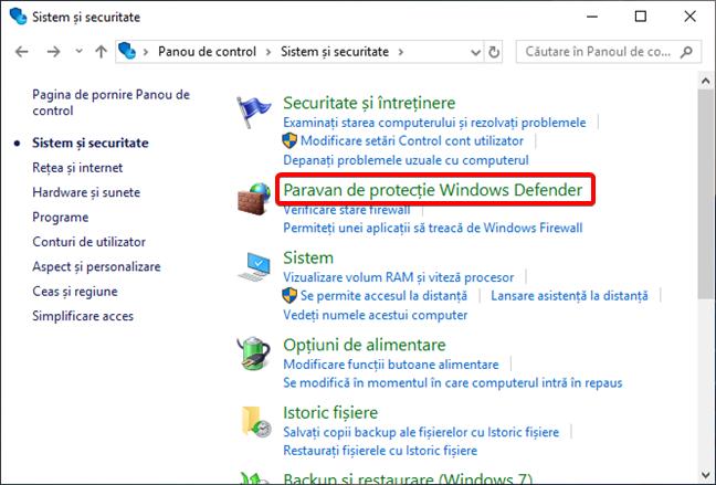 Deschide Paravan de protecție Windows în Panou de control