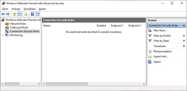Reguli de securitate a conexiunii în Paravanul de protecție Windows Defender