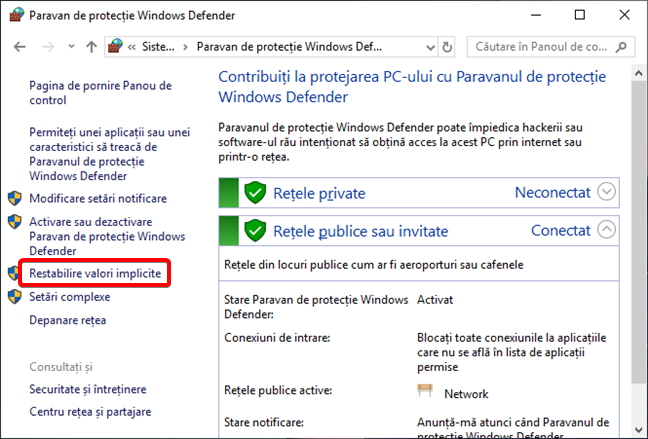 Restabilire valori implicite în Paravan de protecție Windows Defender