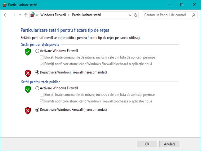 Windows Firewall, Paravanul de protectie Windows