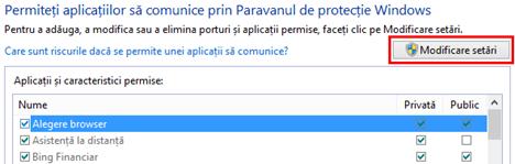 Windows Firewall, aplicatii, programe, permise, blocate, editeaza