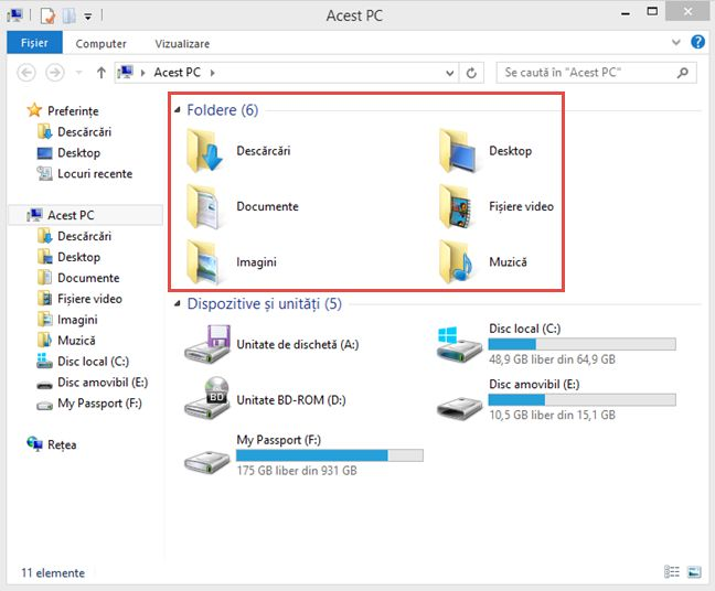 Windows, foldere, utilizator, Documente, Muzica, Descarcari, Desktop, OneDrive, locatie