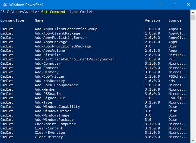 Get-Command -Type Cmdlet în PowerShell