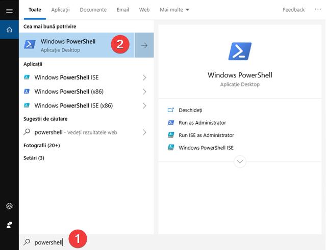 Caută PowerShell în Windows 10
