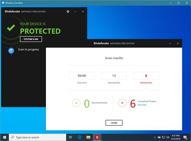 Scanarea unui fișier după malware, folosind un antivirus gratuit în Sandbox Windows