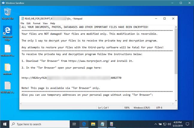 Deschiderea unui fișier executabil de tip ransomware, în Sandbox Windows