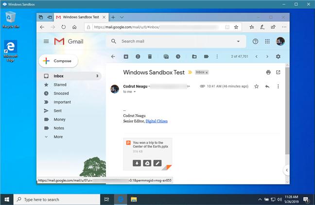 Descărcarea unui atașament al unui e-mail suspect, în Sandbox Windows