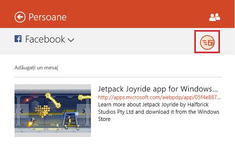 Windows 8.1, aplicatii, jocuri, Magazin, distribuie, partajeaza, email, legatura, captura de ecran, facebook