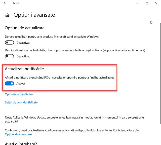 Activează notificările pentru actualizările de Windows 10
