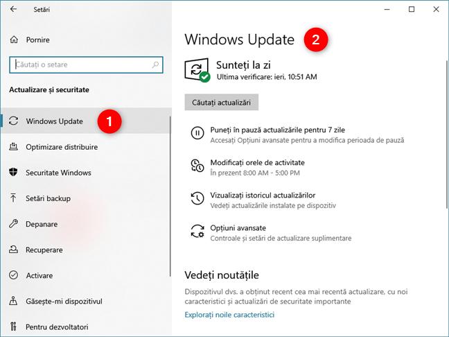 Pagina Windows Update din Setările Windows 10