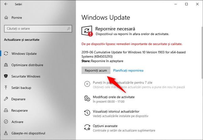 Windows 10 solicită repornirea PC-ului pentru a finaliza instalarea actualizărilor