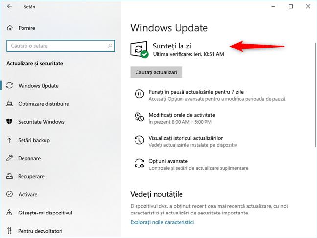 Windows Update informându-te că ești la zi