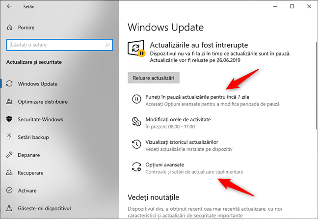 Amânarea actualizărilor de Windows 10
