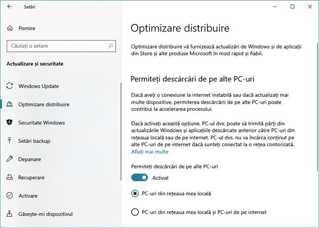 Optimizarea distribuirii actualizărilor de Windows 10