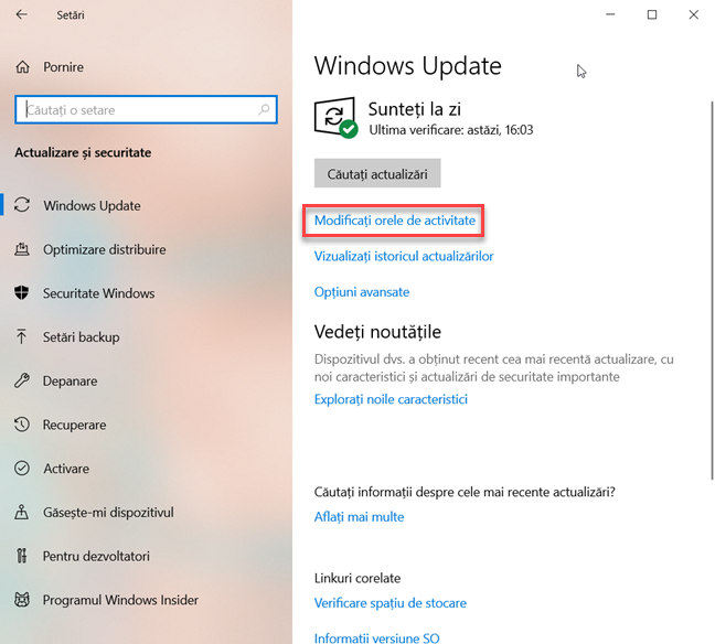 Modificați orele de activitate în Windows 10