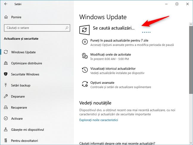 Se caută actualizări pentru Windows 10