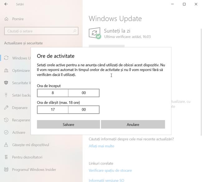 Alege orele de activitate în Windows 10