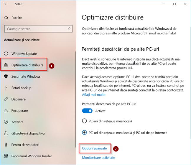Accesează Opțiunile avansate pentru Optimizare distribuire