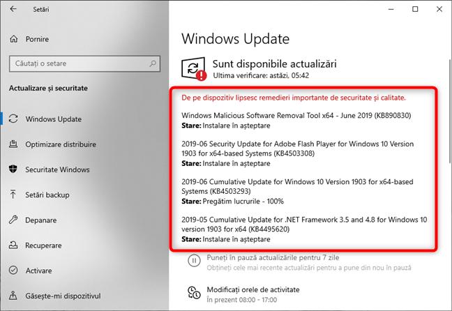 Aceste actualizări sunt disponibile pentru Windows 10