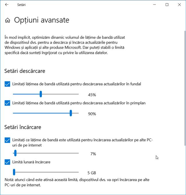Setează lățimea de bandă folosită pentru actualizările de Windows 10