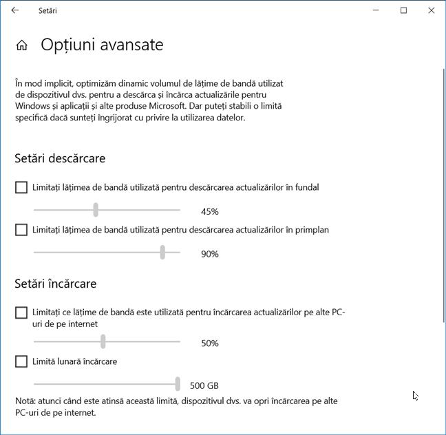 Opțiuni pentru controlul lățimii de bandă utilizate pentru actualizarea Windows 10