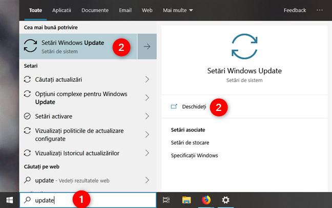 Căutarea Windows Update în Windows 10