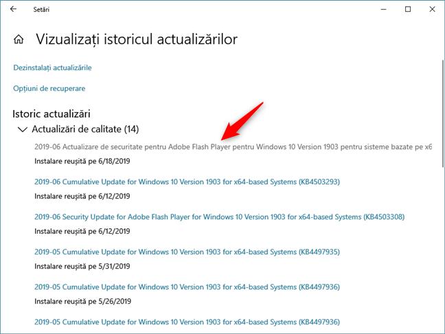 Clic pe o actualizare pentru Windows 10