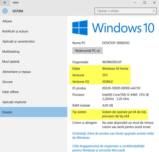 Informații despre versiunea, ediția și tipul de Windows 10 instalat