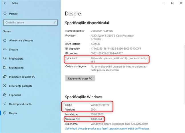 Informații despre versiunea, ediția, compilarea și tipul de Windows 10