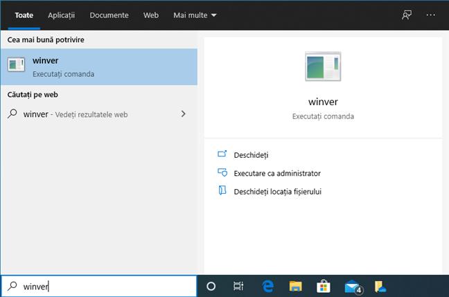 Caută termenul winver în Windows 10