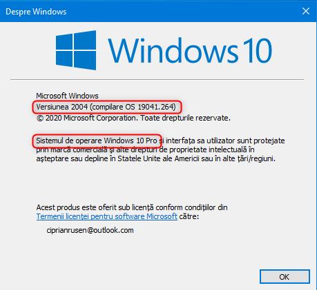 Fereastra Despre Windows