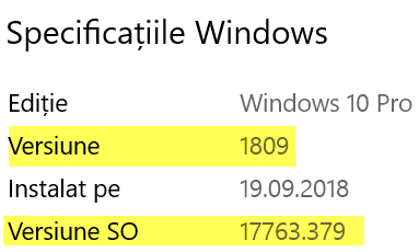Versiune SO sau Compilare OS pentru Windows 10 versiunea 1809