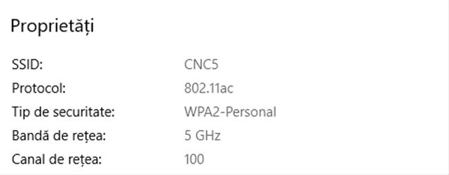 Proprietățile unei rețele wireless care folosește 802.11ac