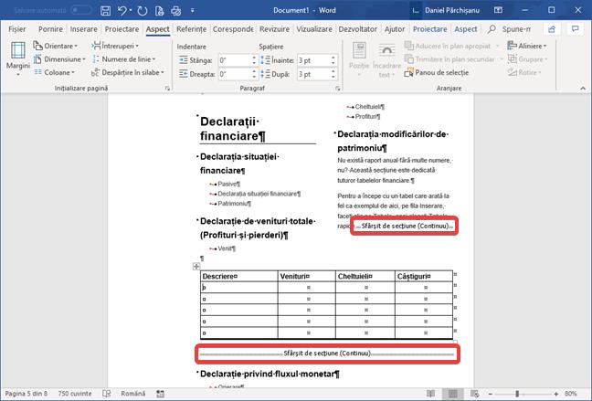 Sfârșituri de secțiune continue în Microsoft Word