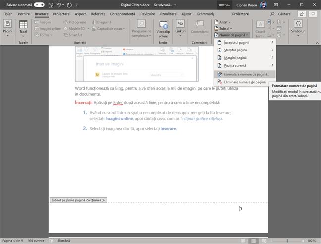 Microsoft Word - Formatare numere de pagină