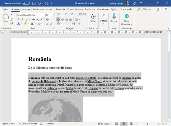 Text selectat în Microsoft Word