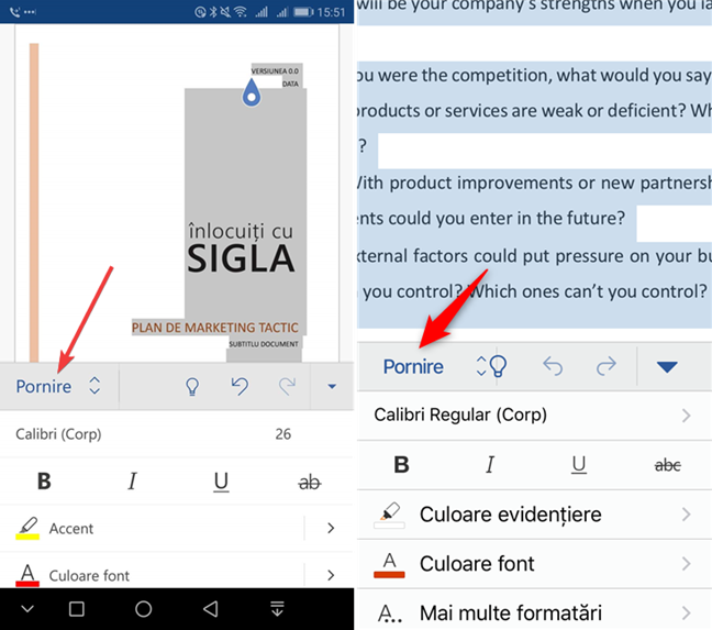 Apasă Pornire în Microsoft Word pentru mobil