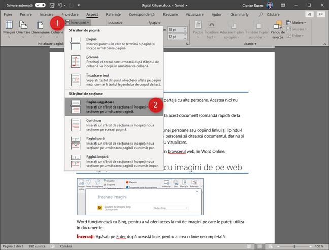 Microsoft Word - Adaugă o întrerupere de secțiune