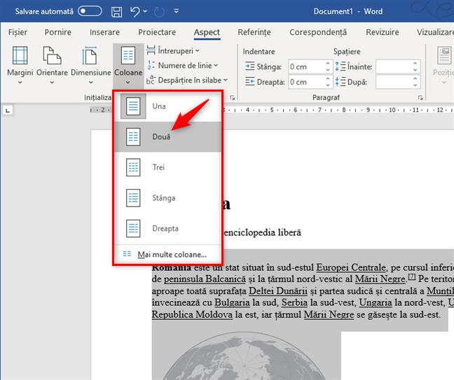 Crearea a două coloane într-un document Word