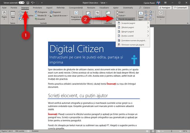 Microsoft Word - adaugă număr de pagină