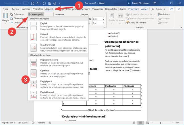 Inserează un sfârșit de secțiune în Microsoft Word