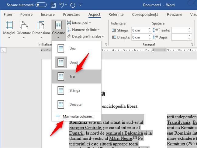 Crearea a trei coloane sau mai mult, într-un document Word