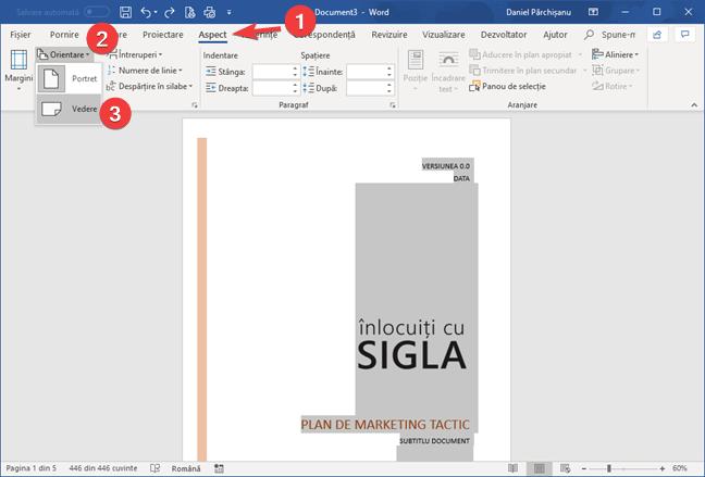 Selectează orientarea Vedere în Microsoft Word