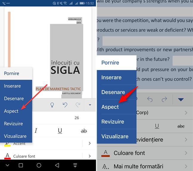 Aspect în Microsoft Word pentru mobil