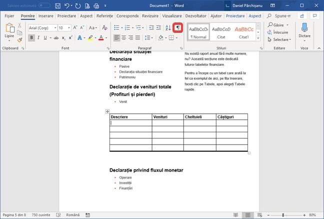 Butonul Afișați tot în Microsoft Word