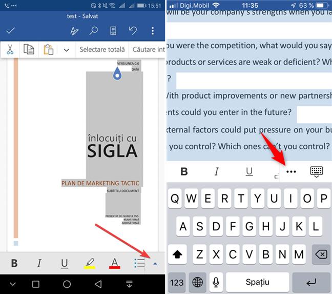 Deschide meniul în Microsoft Word pentru Android sau iOS